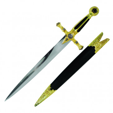 "21.5"" Masonic Dagger Black Velvet Handle With Scabbard"