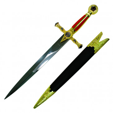 "21.5"" Red Mason Dagger With Red And Gold Handle And Black Scabbard"