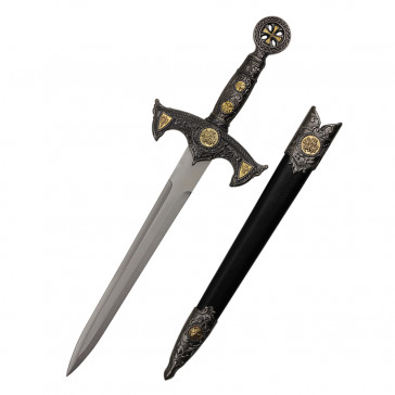 "19"" Crusader Designed Dagger Black With Scabbard"