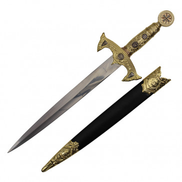 "19"" Crusader Designed Dagger Gold With Black Scabbard"