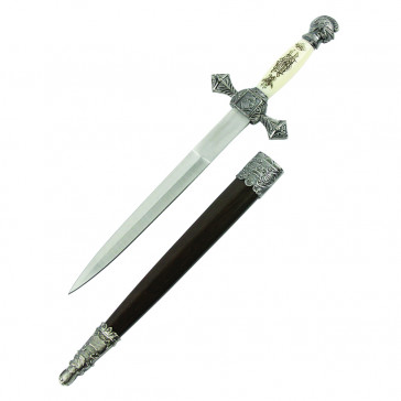 "13.75"" Medieval Dagger With Scrimshaw Design and Brown Scabbard"