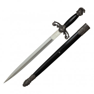 "23.5"" Scrimshaw Designed Dagger With Black Scabbard"