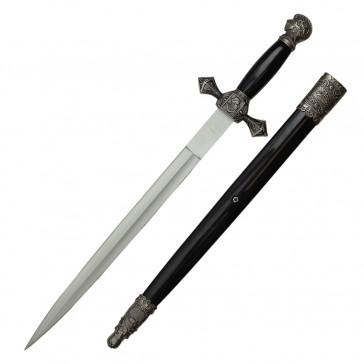 "23.5"" Scrimshaw Designed Dagger With Black Scabbard"