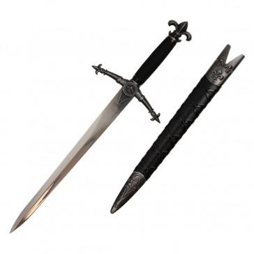19.25 inch overall Fleur De Lis Medieval Dagger