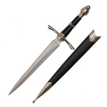 "14"" Medieval Dagger With Black Scabbard"