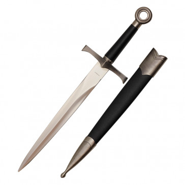 "16"" Medieval Dagger With Chrome Finish And Black Scabbard"