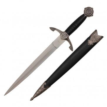 "14"" Medieval Designed Dagger With Black Scabbard"