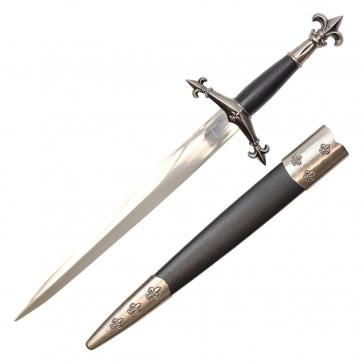 15 inch overall Fleur De Lis Medieval Dagger