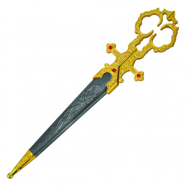 "10"" Gold Bodice Scissors Dagger With Sheath"