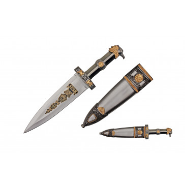 "14"" Roman Dagger With Eagle Head Designed Handle And Scabbard With Brass Colored Finish"