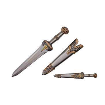 """14"""" Roman Dagger With Scabbard And Brass Color Finish"""