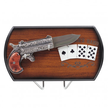 Dead Mans Hand With Gunk Knife With 4 Cards And Wooden Display Stand