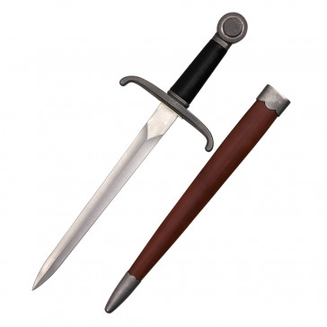 "20"" Handmade Medieval Dagger With Brown Scabbard"