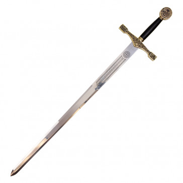 "43"" Excalibur Sword Gold With Plaque"