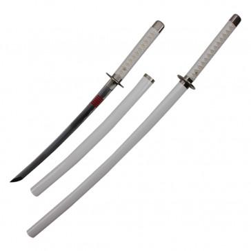 White Ninja Katana & Wakizashi Combo w/ Leather Back Holster