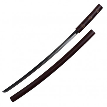 "39"" Wood Designed Katana With Two Toned Blade And Scabbard"