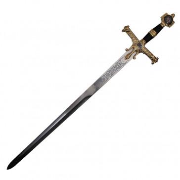 "48"" Black King Solomon Sword With Plaque"