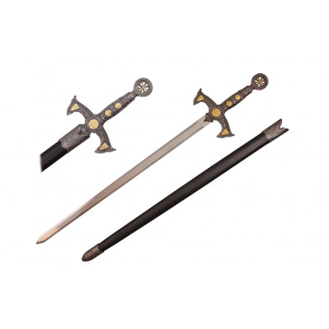 "38.25"" Crusader Sword w/ Black Sheath"