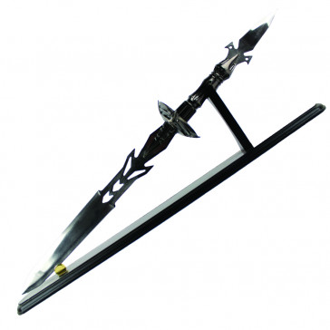 "26.5"" Dagger With Black Lacquered Handle and Includes Wooden Stand"