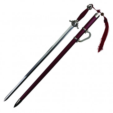"38"" Red Tai Chi Sword With Red Scabbard And Tassels"