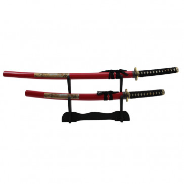 "39"" 31"" Red Tiger And Lion Sword Set With Wooden Display Stand"