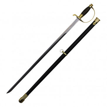 """38"""" German Cavalry Sword With Gold Handle And Black Scabbard"""
