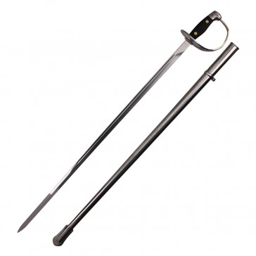 Silver Cavalry Sword With Black Handle And Silver Scabbard