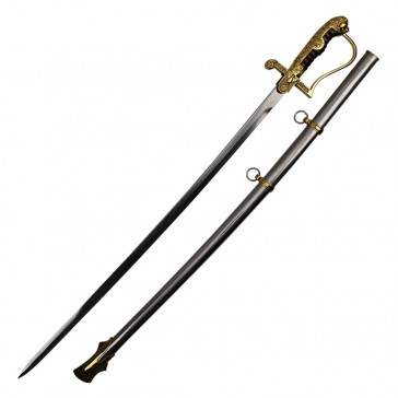 "43"" Medieval Sword With Gold And Silver Accents And Scabbard"