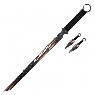 "27"" American Flag Ninja Sword"