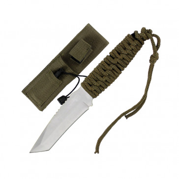 """8"""" Chrome Tanto Blade Full Tang Hunting Knife With Green Cord Wrapped Handle and Fire Starter"""