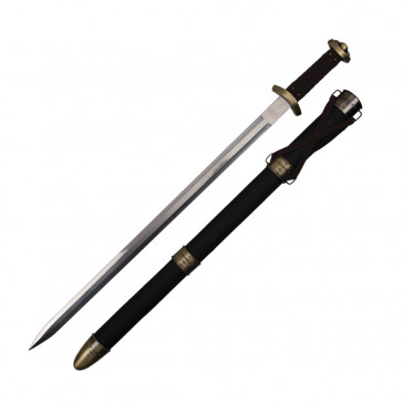 "34"" Black Spatha Arming Medieval Battle Sword With Scabbard"