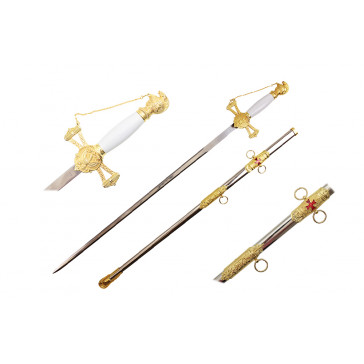 """33"""" Gold And White Templar Crusader Knight Of St. John Masonic Sword With Scabbard"""
