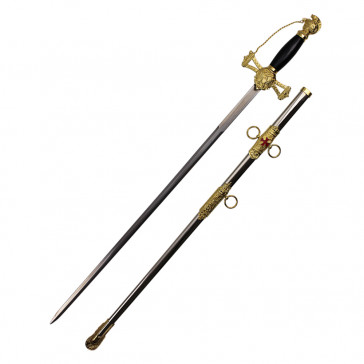 "33"" Gold Templar Crusader Knight Of St. John Masonic Sword With Scabbard and Black Handle"