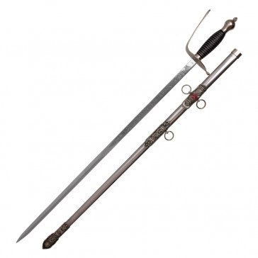 """33"""" Black Handle St. John Masonic Sword With Steel Scabbard With Red Cross"""