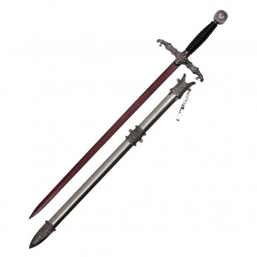Fantasy Sword With Blood Red Blade Black Handle And Stainless Steel Scabbard