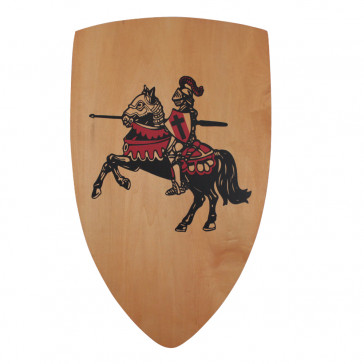 "25 X 15"" Wooden Shield w/ Knight And Horse Detail"