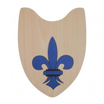 "15 X 11"" Wooden Shield w/ Blue Fleur De Lis Detail"