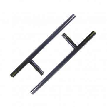 Pair of Wooden Tonfas w/ Grooved Handles (Black)