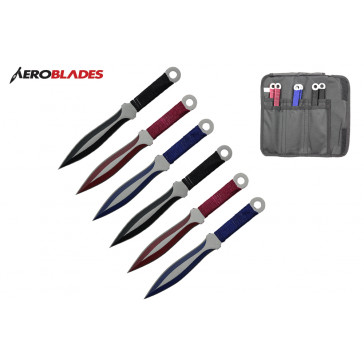 "6.5"" 6 pcs set two tones blade throwing knife"