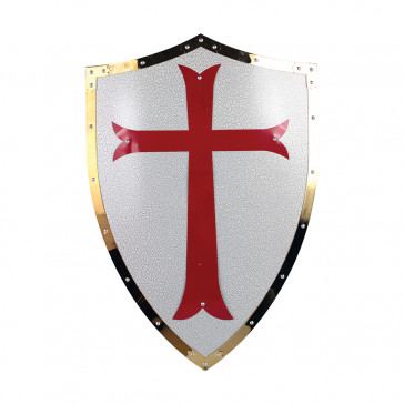"25"" X 17.5"" Red Cross Crusader Metal Shield"