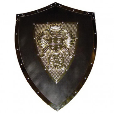 "24"" X 18"" Medieval Metal Shield w/ Double Headed Eagle Crest (Grey)"