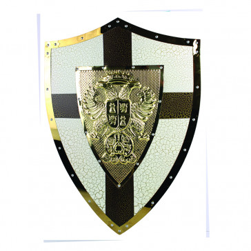 "24"" X 18"" Medieval Metal Shield w/ Double Headed Eagle Crest (White/Gold Cross)"