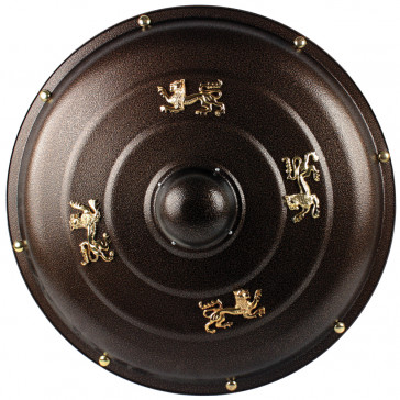 """25""""  Brown Metal Round Shield With Gold Lion Accents"""
