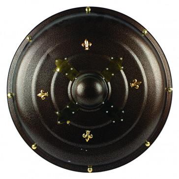 "25""  Brown Metal Round Shield With Gold Fleur De Lis Accents"