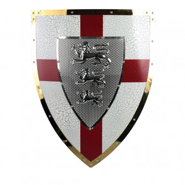 "22.5"" X 18"" Royal Crusader Metal Shield w/ 3 Lion Crest"