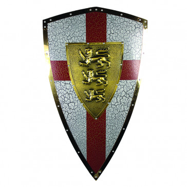 "21"" X 17.5"" Royal Crusader Metal Kite Shield w/ 3 Lion Crest"