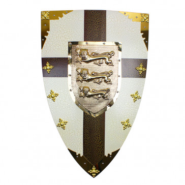 "28"" X 18""  Royal Crusader Metal Shield w/ 3 Lion Crest"