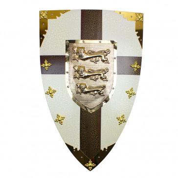 "28"" X 18""  Royal Crusader Metal Shield w/ 3 Lion Crest"