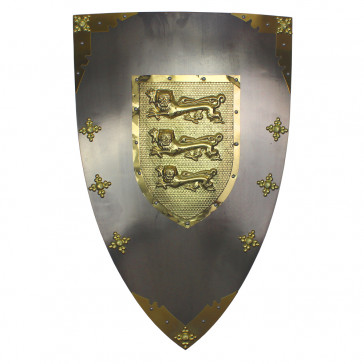 "28"" X 18"" Richard The Lionheart  Metal Shield With Gold Accents"