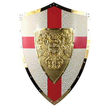 """25 X 18.5"""" Red And Gold Crusader Metal Shield w/ Double Headed Eagle Crest"""